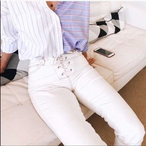 NWOT SIZE 24 UO HIGH RISE TIE UP WHITE JEAN